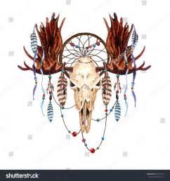 watercolor moose skull feathers dreamcatcher beaded stock