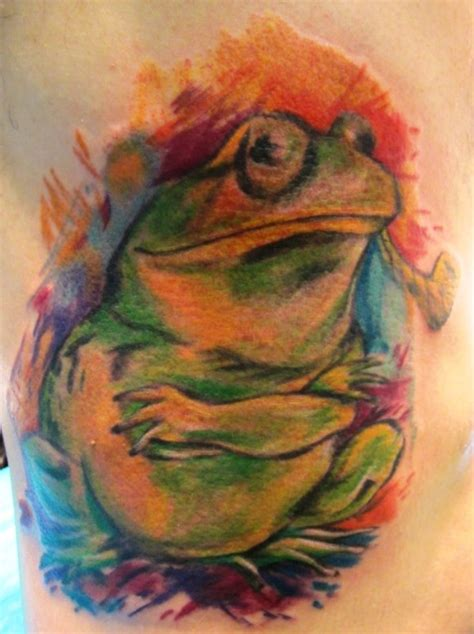hard ink tattoo i how this frog looks like a water color painting no