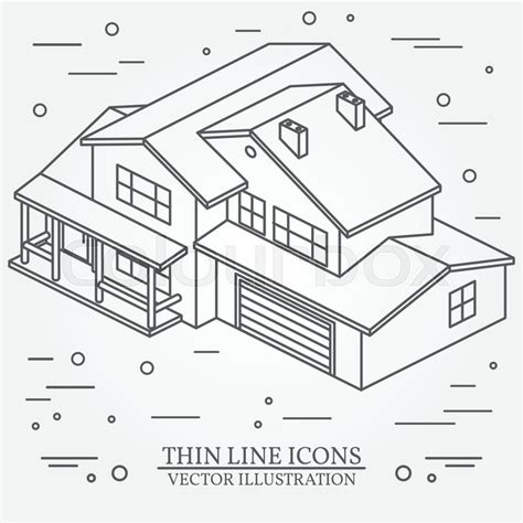 application for designing house vector thin line icon isometric suburban american house for web design and