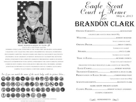 of honor template eagle court of honor the program the balloon