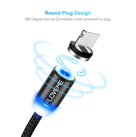 Lexcron Lightning Cable Led 1m Silver floveme type c led magnetic braided fast charging cable 1m for oneplus 5 xiaomi 6 mi a1 huawei