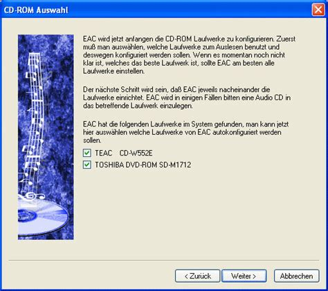 arbeiten mit exact audio copy eac cd schrank komprimiert teil 1 wintotal de