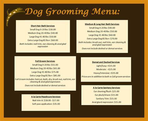 dogs menu grooming pet care center at park