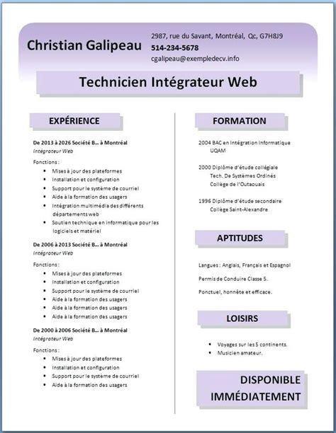 Format De Cv Gratuit by Cv Gratuit En Pdf En Telecharger Modele De Cv Gratuit
