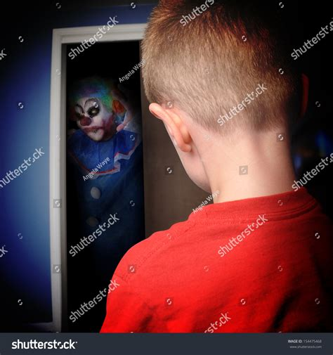 scary clown in bedroom scary clown coming out boys closet stock photo 154475468