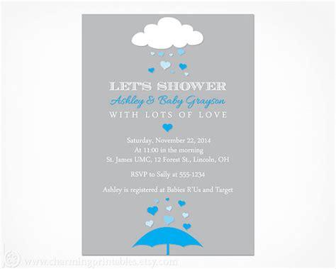 Kaos Umbrella Boy Grey 1 baby shower invitation printable digital file blue