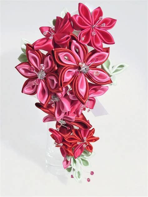 Wedding Bouquet Kanzashi Tutorial by Cascading Kanzashi Flower Bridal Bouquet For Weddings