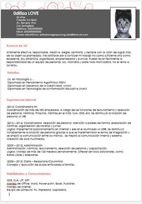 Plantilla Curriculum Vitae Experiencia Ni Estudios Te Ense 241 O A Crear Un Curriculum Vitae Nivel Dios Taringa
