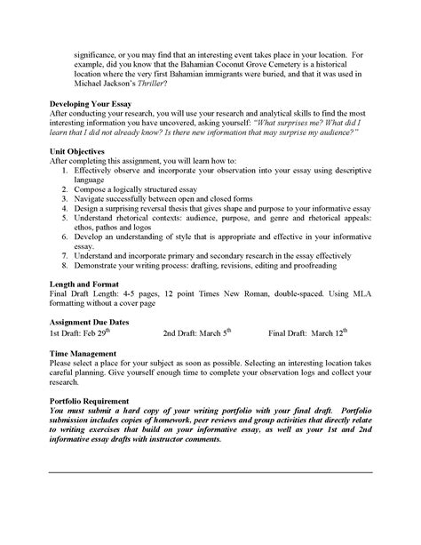 Exle Of Informative Essay by Unit 2 Informative Essay The Inside Me