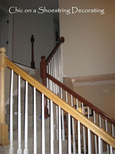 stairway banisters chic on a shoestring decorating how to stain stair