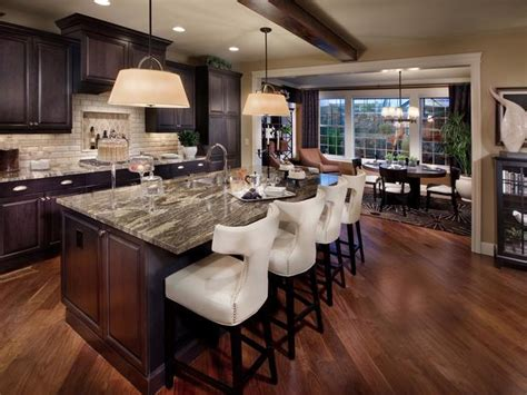 kitchen island with 4 chairs kitchen with brown cabinets breakfast bar chairs designers portfolio hgtv home