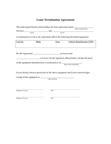 lessor lessee agreement template lease termination agreement free