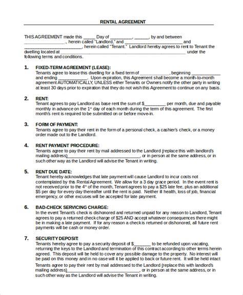 simple rental agreement 17 exles in pdf word