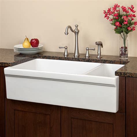 pictures of farm sinks 36 quot gallo reversible 80 20 offset double bowl fireclay