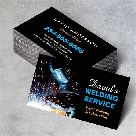 business cards templates for welding professional metal welding fabrication contractor business