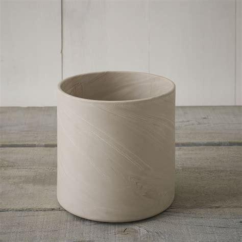 marbleized cylinder planters west elm