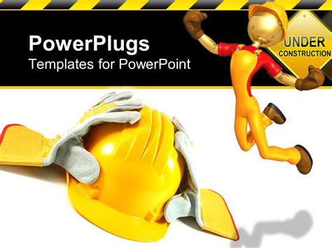 powerpoint template working yellow helmet and gloves on a