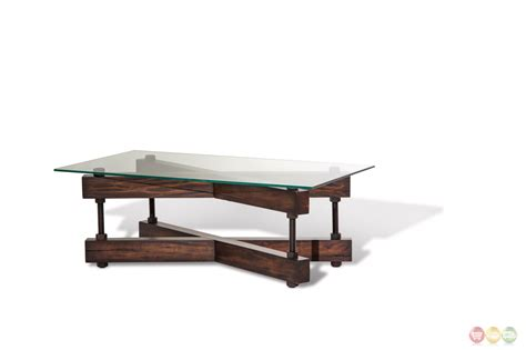 Rustic Glass Coffee Table Killington Rustic Modern Coffee Table W Glass Top Quot X Quot Wood Base