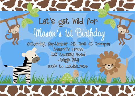 Animal Print Birthday Card Template by Birthday Invitations Jungle 1st Invites Birthday