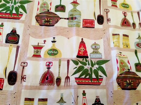 Retro Kitchen Curtains 1950s Vintage 1950s Eames Era Cool Retro Cafe Kitchen Curtains