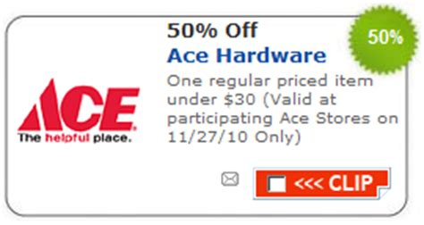 ace hardware discount ace hardware 50 off one item november 27 2010 money