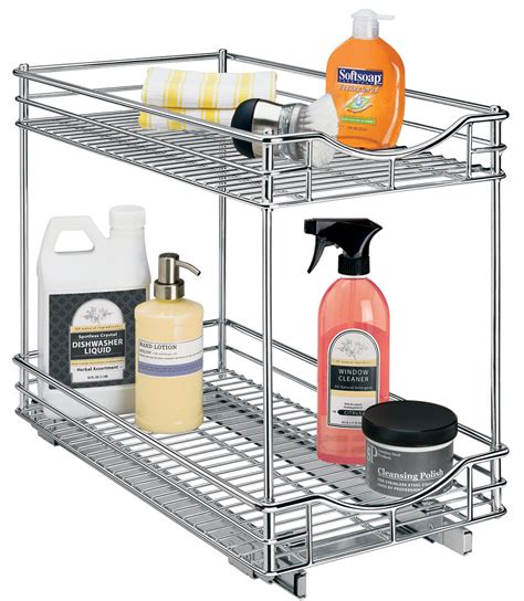 pull out baskets for bathroom cabinets two tier sliding cabinet organizer 11 inch in pull out