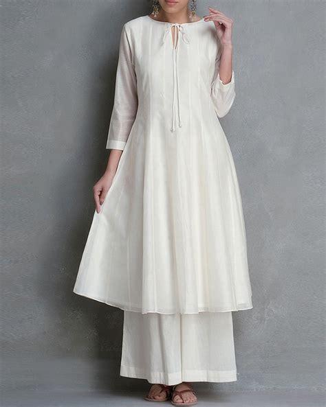 Designer White shop designer kurti crafted with chanderi