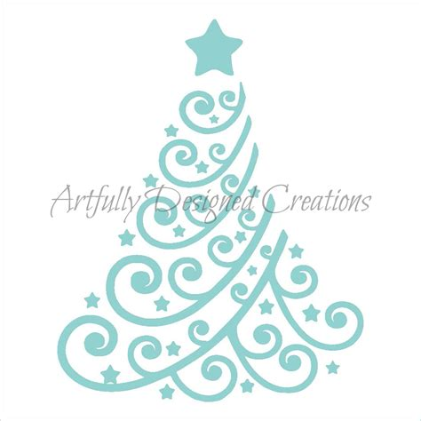 swirly christmas tree stencil 2 artfully designed creations