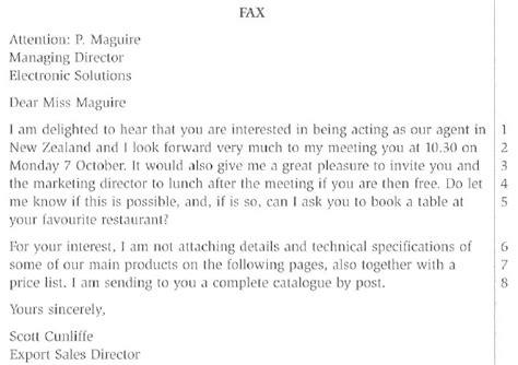 Memo Format Bec Bec Vantage Fax