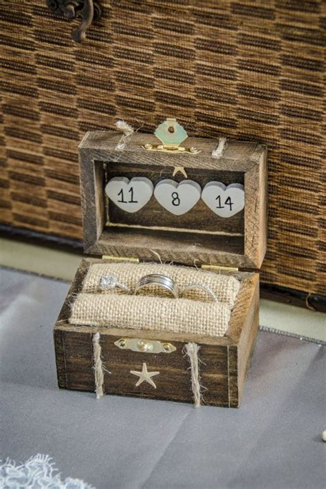 rustic wedding ring box engagement ring box beach