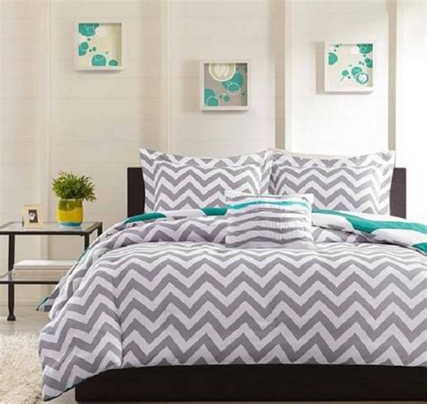 blue teen bedding modern teen gray white blue geometric zigzag stripe duvet