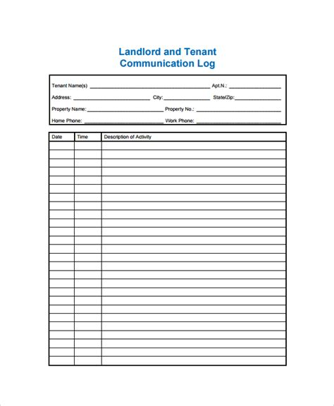 communication record template communication log template 8 free word pdf documents