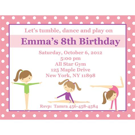 20 Personalized Birthday Invitations Pink Gymnastics Gymnastics Party Gymnastics Birthday Invitation Templates