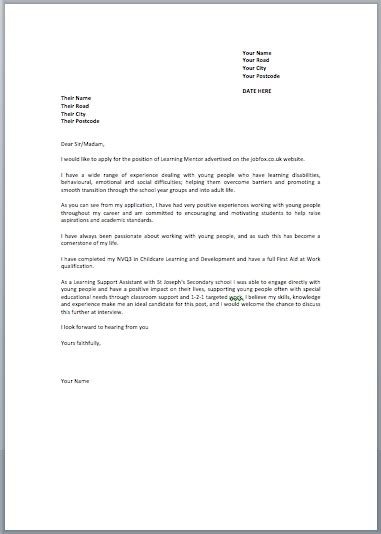 cover letter examples uk letters sample letters