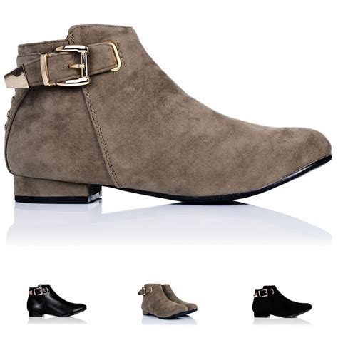 flat boot shoes new womens flat buckle zip stud ankle boots size 3 8 ebay