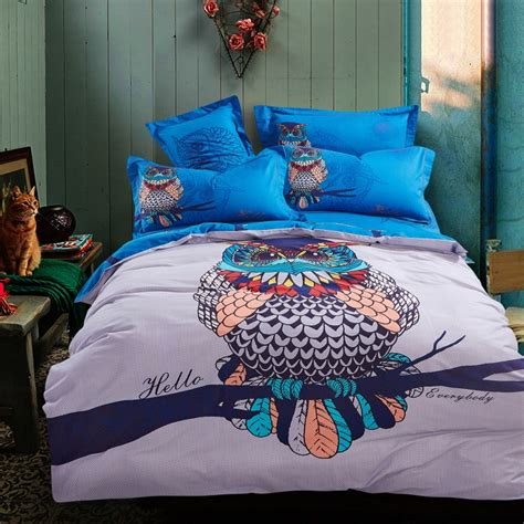 owl twin bed set blue harry potter hathaway owls bird print bedding set