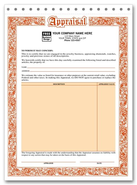 Jewelry Appraisal Form Template invoice template jewelry rabitah net