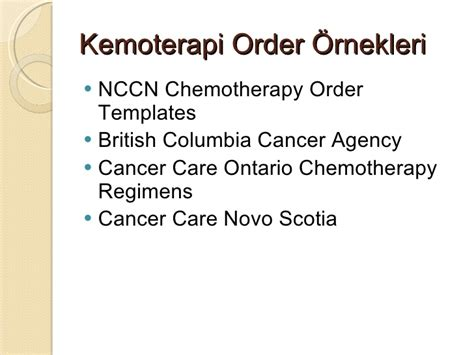 nccn chemotherapy order templates onkolojide internet kullanımı