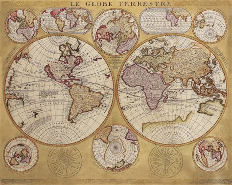 le globe terrestre historic world 1690 le globe terrestre giclee wall map