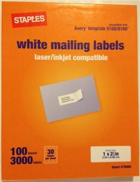 staples label templates staples white mailing labels for laser printers 1 x 2 62