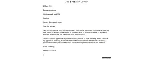 transfer request letter sles transfer letter business letter sles