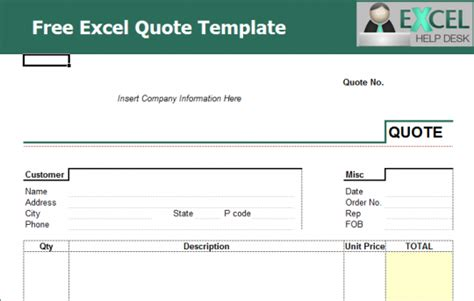 quote template excel free price quote template excel