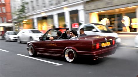 bmw 325i stanced slammed bmw e30 crazy wheelspins chase through london