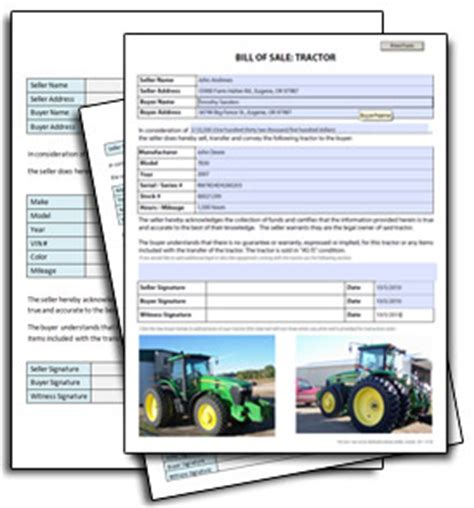 tractor bill  sale  printable documents
