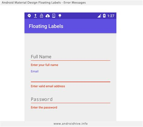 email format validation in android android material design floating labels for edittext