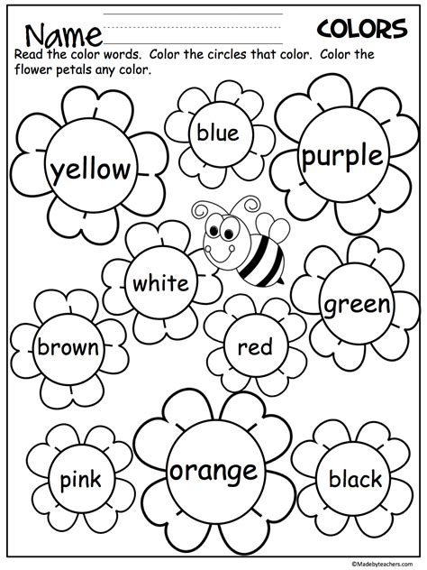 Free Flower Color Words Worksheet Great For The Spring My Future Classroom Pinterest Color Activity For Kindergarten