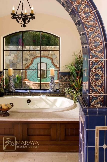 spanish tile bathroom ideas malibu tile bathtub and fountain mediterranean