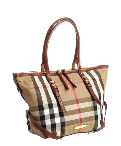 Burberry Signature Top burberry brown signature check canvas top handle tote bag in brown lyst