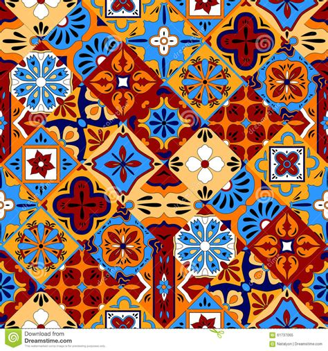 mexican pattern vector art mexican stylized talavera tiles seamless pattern in blue