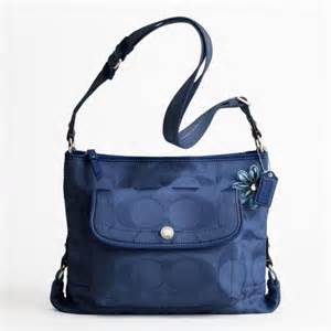 coach signature file bag f16550 navy blue 80